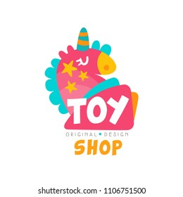 Toy shop logo design template, kids store, baby market badge vector Illustration on a white background