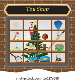 A Toy Shop Window at Christmas with Toy Train,Soldier,Drum,Airplane,Football,Ship,Teddy Bear,Rabbit,Cricket Bat,Tennis Raquet and Christmas Tree