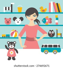 Toy stores sales woman. Flat design.