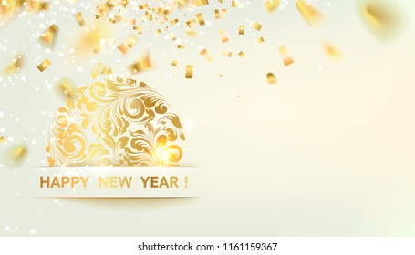 Toy symbol with curves of ribbon confetti. Golden confetti falls on the background. Happy new year 2019. The Holiday card best template for your design. Vector illustration.