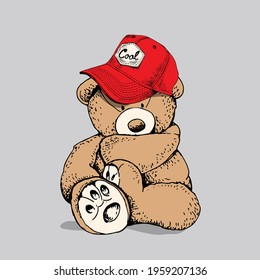 Toy Teddy bear in the red cap. Funny pose. Humor textile composition, hand drawn style print. Vector illustration.