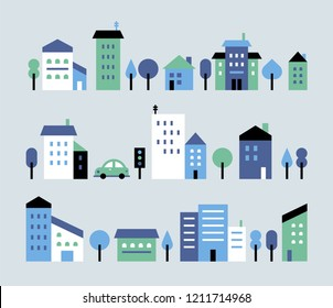 A toy town house with a small, cute building in style. flat design style vector graphic illustration.