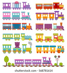 Toy train different cartoon vector illustration. Train road  and railway cute baby cartoon funny circus style station and tree