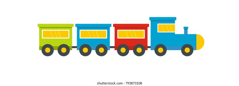 Toy train icon. Flat illustration of toy train vector icon for web.
