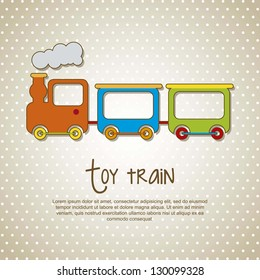 toy train over beige background. vector illustration