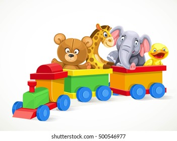 Toy train with soft toys isolated on white background