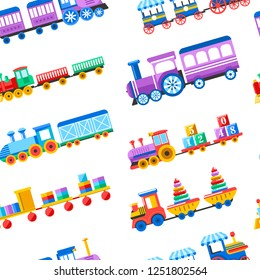 Toy trains with kid toys and children playthings for kindergarten boys children design seamless pattern.