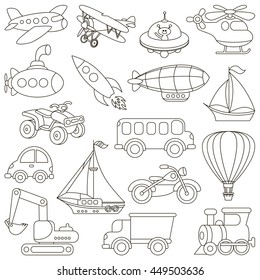 Toy Transport Set To Be Colored Coloring Book Educate Kids Learn Colors