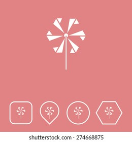 Toy Wind Mill  Icon on Flat UI Colors with Different Shapes. Eps-10.