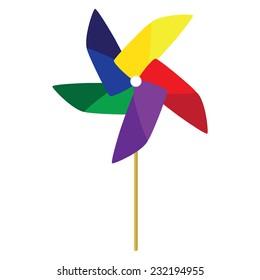 Toy windmill, pinwheel, windmill paper, windmill toy vector