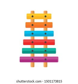 Toy xylophone icon. Flat illustration of toy xylophone vector icon for web design