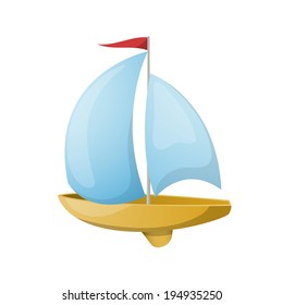 Toy yacht. Vector illustration.