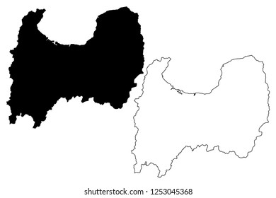 Toyama Prefecture (Administrative divisions of Japan, Prefectures of Japan) map vector illustration, scribble sketch Toyama map