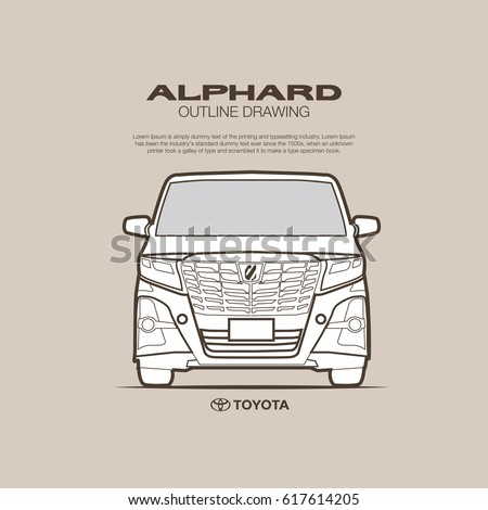 Toyota Alphard Front View Vector Outline Stock Vector Royalty Free