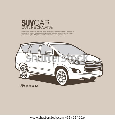 Toyota Suv Vector Outline Stock Vector Royalty Free 617614616