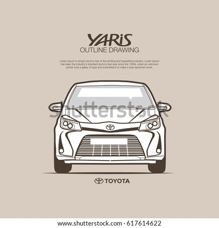 Toyota Yaris Front View Vector Outline Stock Vector Royalty Free