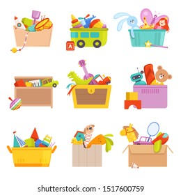 Toys box. Gifts for kids in package many toys car rocket train vector cartoon illustrations