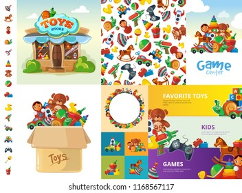 toys cartoon collection. funny games for children rattle machine gun bear duck child box vector big creation kit