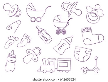dummy for drawing stock vectors images vector art shutterstock Blank Template for Dummies toys for children background new born diapers doodle art carriage baby s dummy