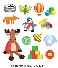Toys for children at Christmas eve produced at Santa Claus factory in North Pole, reindeer and fox, penguin and bunny, isolated on vector illustration