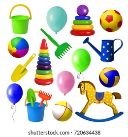 Toys for children. Set toys for sandbox, rocking horse, various balls and balloons. Isolated objects on white background. Vector illustration.