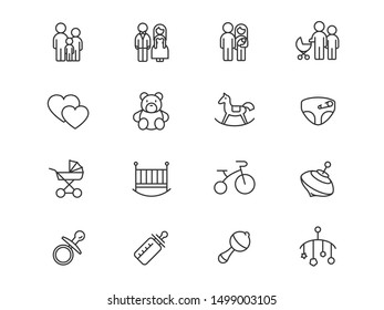 Toys and children's things family and family values vector linear icons set. Children's things outline symbols pack. Collection of baby things isolated contour illustrations. Bride and groom