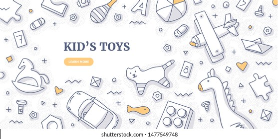 Kid's toys doodle frame. Top view on various toys such as cars, wooden, plastic bricks and details, soft toys. Kid's space flat lay. Space for text