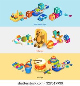 Toys horizontal banners set with isometric fun baby educational toys isolated vector illustration
