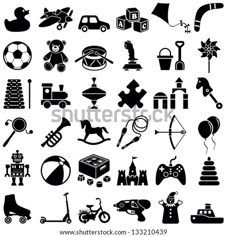 toys icon collection vector silhouette illustration のベクター画像