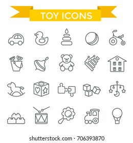 Toys icon set, thin line, flat design