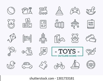 Toys Icons Design Set For Store. Vector Thin Line Modern Symbols for Website.