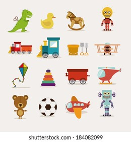 Toys icons on white background, Vector illustration