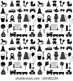 Toys icons. Seamless pattern.
