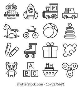 Toys Icons Set on White Background. Line Style Vector