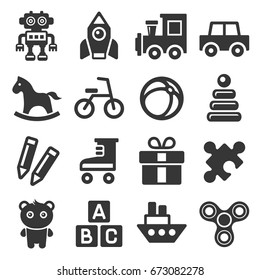 Toys Icons Set on White Background. Vector