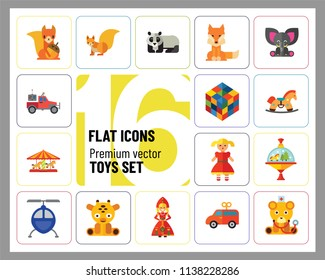 Toys icons set with Rubics cube, whirligig and elephant toy. Thirteen vector icons