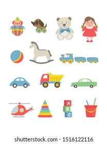 Toys isolated on a white background. There are cars, a helicopter, teddy bears, a doll, a ball, a train, a clown, pyramid and other items in the picture. Toys for little children. Vector illustration