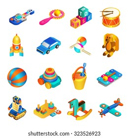 Toys isometric set with 3d rocking horse drums and rocket isolated vector illustration