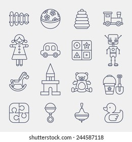 toys line icons on white background