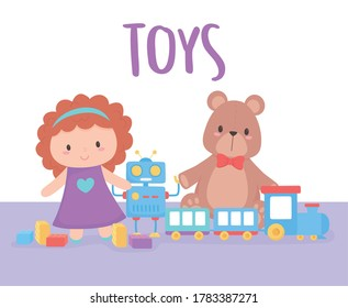 toys object for small kids to play cartoon doll bear train and robot vector illustration