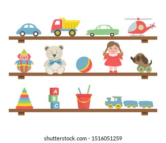 Toys on the shelves. There are cars, a helicopter, teddy bears, a doll, a ball, a train, a dog, a clown, a pyramid, cubes and other items in the picture. Toys for little children. Vector illustration