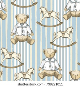 Toys pattern with hand drawn bears and horses in vintage style. Perfect for kids textiles, wallpaper and prints.