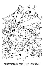 Toys and Robot doodle vector stock illustration, funny kids print, coloring page, kids party, celebration, print for greeting / invitation card, black outlines on white background