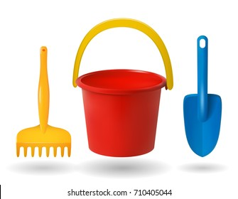 toys for  sandbox. Baby bucket, rake, scapula. Colored objects on white background. Vector illustration.