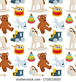 Toys seamless background. Different toys cartoon style drawing endless vector pattern. Baby background seamless concept. Part of set.