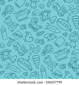 toys seamless pattern. vector seamless pattern for baby shower, fabric,background with doodle toys