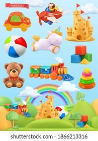 Toys set. 3d vector illustration