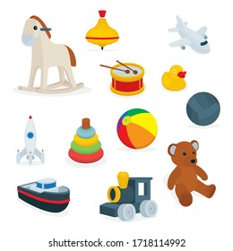 Toys. Set of cartoon style toys drawing vector illustration. Toy flat icons collection isolated on white background. Part of set.