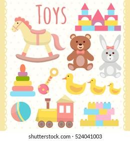 Toys set. Flat design
