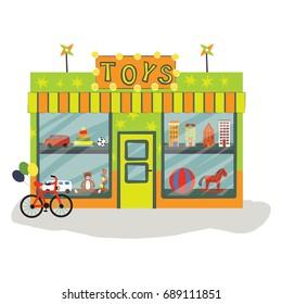 toys shop facade, vector illustration